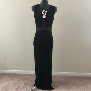 NWT Gianfranco Ferre Black Maxi Dress w/ Belt